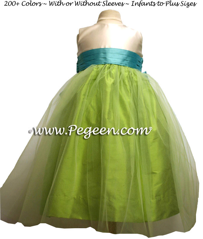 Green Tulle, Apple Green, Bisque and Tiffany Flower Girl Dresses