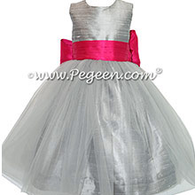 Silver Gray and Boing (hot pink) flower girl dresses with gray tulle