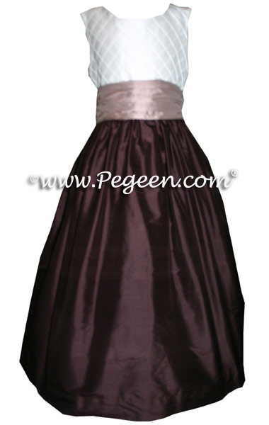Dark Chocolate Brown and Antiqua Taupe and White Pin Tuck Bodice custom  flower girl dresses