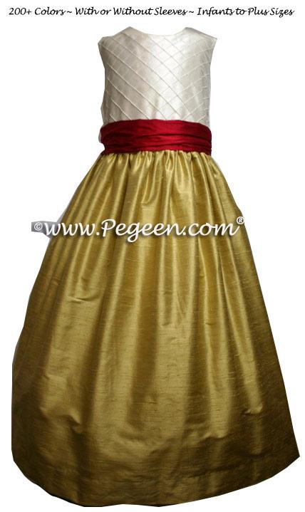 Spun Gold, Red Poppy and Ivory Pin Tuck Bodice custom flower girl dresses