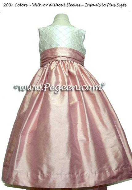 Lotus Pink and Antique White Pin Tuck Bodice custom flower girl dresses