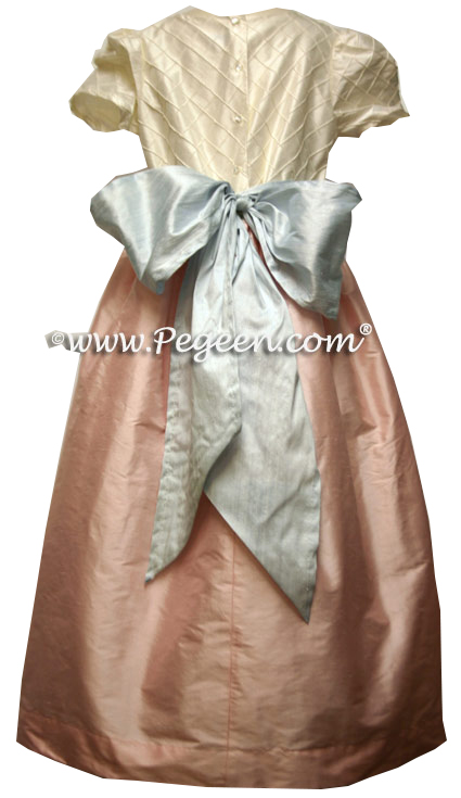 Peony Pink, Baby Blue and Ivory Pin Tuck Bodice custom flower girl dresses