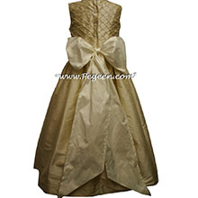Pintucks and Pearls Silk light gold silk flower girl dresses