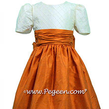Pumpkin Orange and New Ivory Pin Tuck Silk Bodice by Pegeen