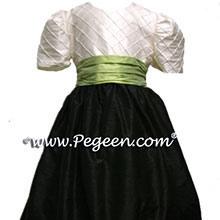 BLACK AND SPRITE GREEN flower girl dresses
