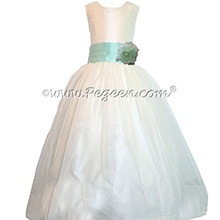 Aqualine and New Ivory silk Custom Flower Girl Dresses by Pegeen