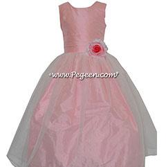 Bubblegum Pink silk with Organza CUSTOM FLOWER GIRL DRESSES by Pegeen