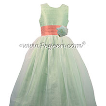 Summer green and sunset flower girl dresses - Pegeen Classic Style 359