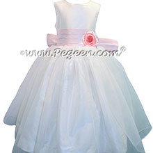 Petal Pink and Antique White Organza Flower Girl Dresses with Pleated Sash