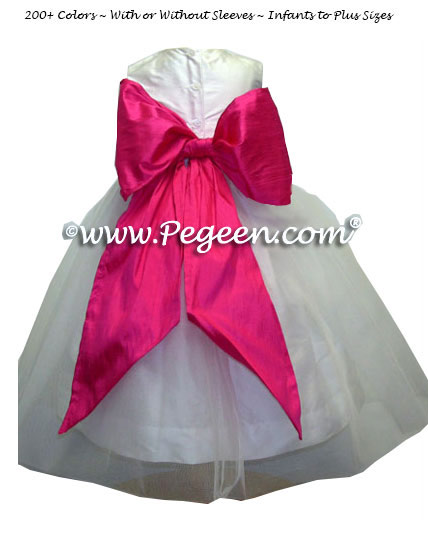 Hot pink Shock, Antique White and White Organza Flower Girl Dresses Style 359