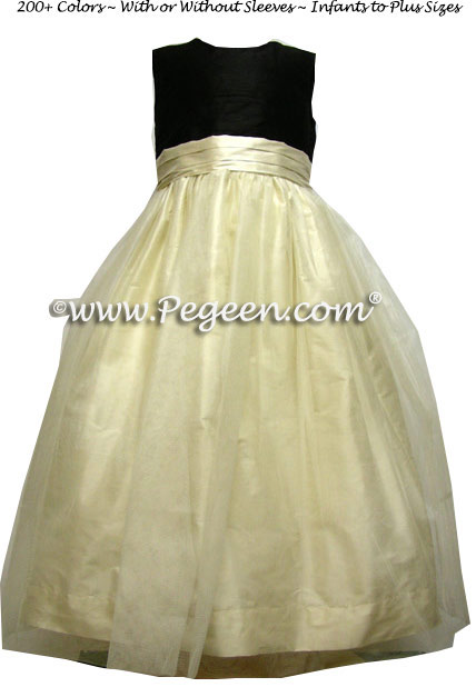 Black and ivory flower girl dresses with v back style 313 pegeen new ivory and black flower girl dress with bustle and back flowers mightylinksfo