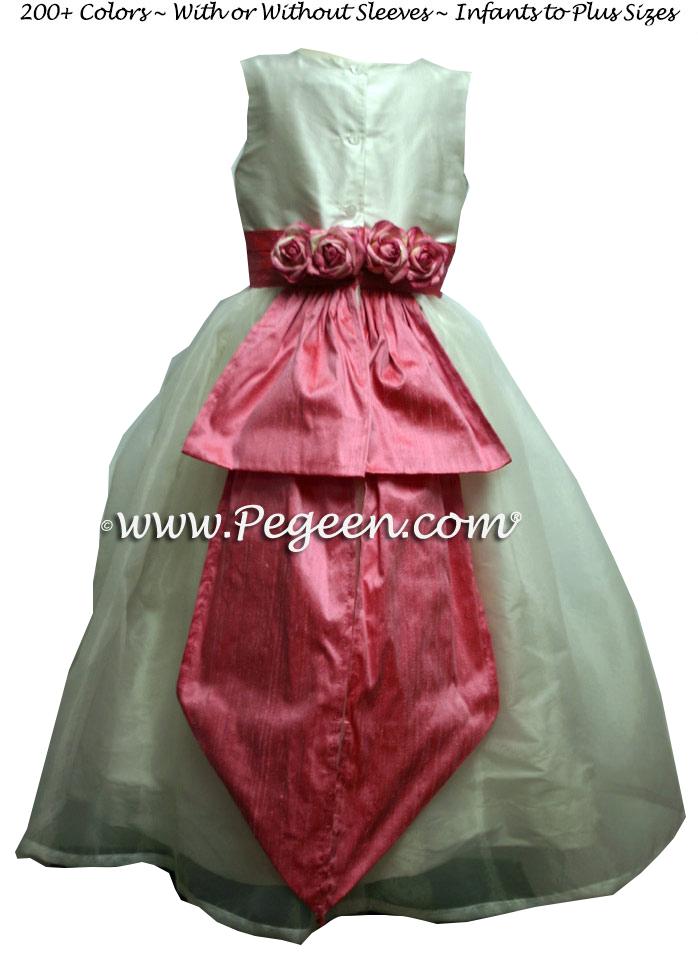 Silk organza flower girl dress in new ivory and gumdrop pink style 313