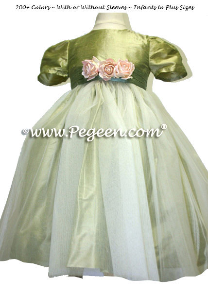 Tulle flower girl dress in Sage Green, Celedon and Ivory | Pegeen