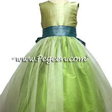 apple green, adriatic and summer green  flower girl dress