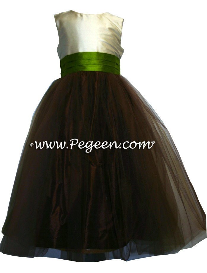CHOCOLATE BROWN AND GRASS GREEN SILK TULLE FLOWER GIRL DRESS STYLE 356