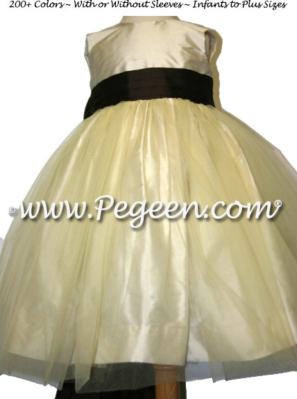 Buttercreme and Chcolate Brown Custom Flower Girl Dresses Style 356