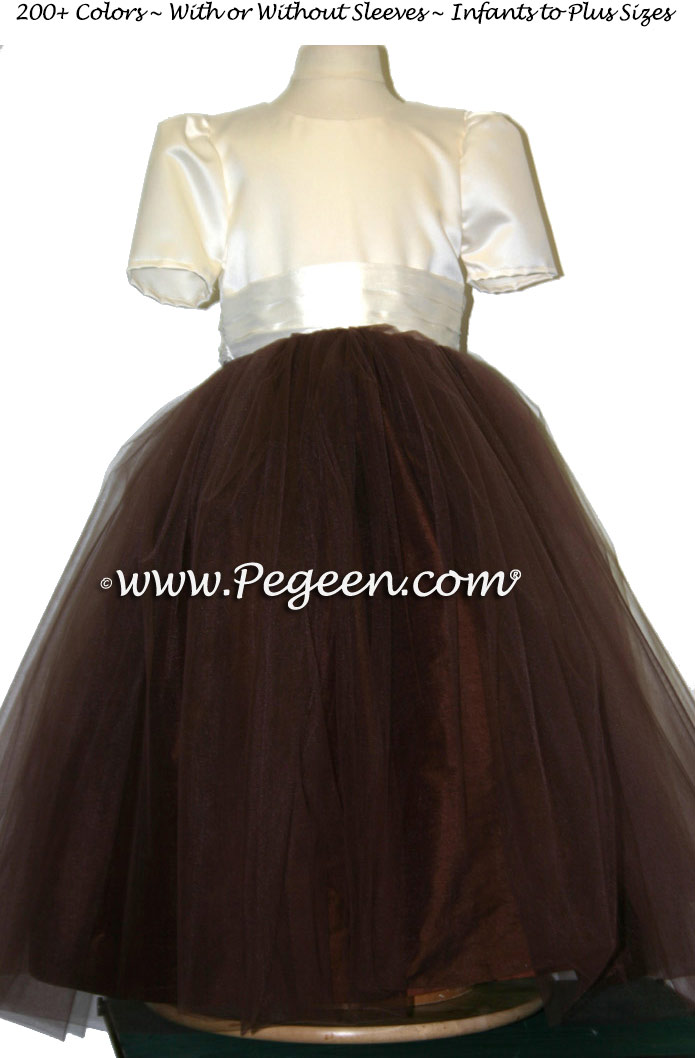 Brown chocolate sash with ivory tulle flower girl dresses from Pegeen Classics