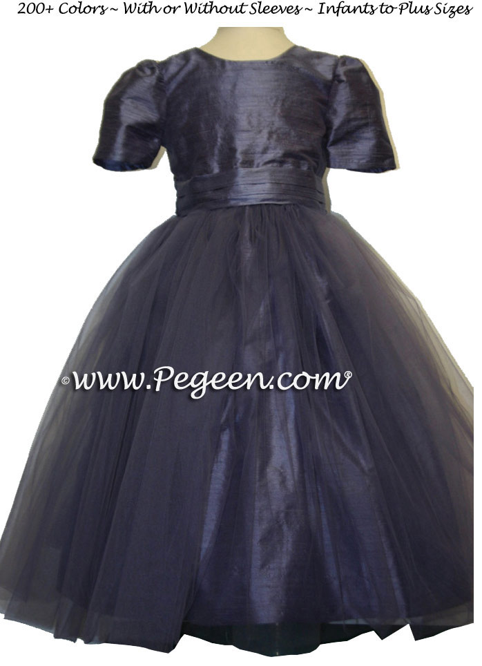 Euro Lilac Silk and Tulle flower girl dresses from Pegeen Classics