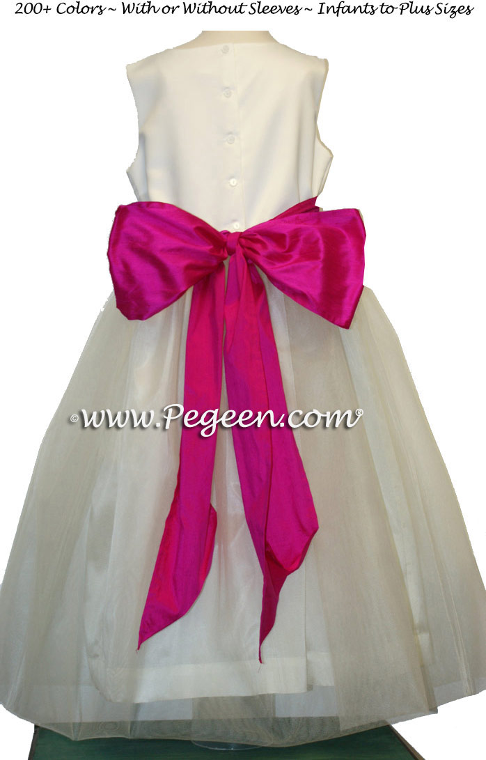 White Satin and fuschia pink silk and tulle flower girl dresses