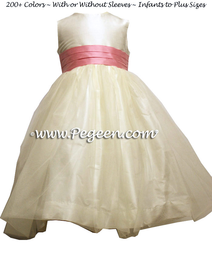 New Ivory and Lollipop Pink Tulle Flower Girl Dresses Style 356