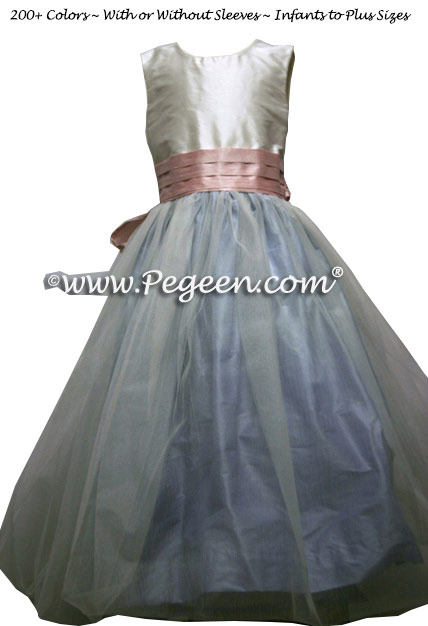 Powder Blue and Lotus Pink silk and tulle flower girl dresses in Pegeen Classic Style 356