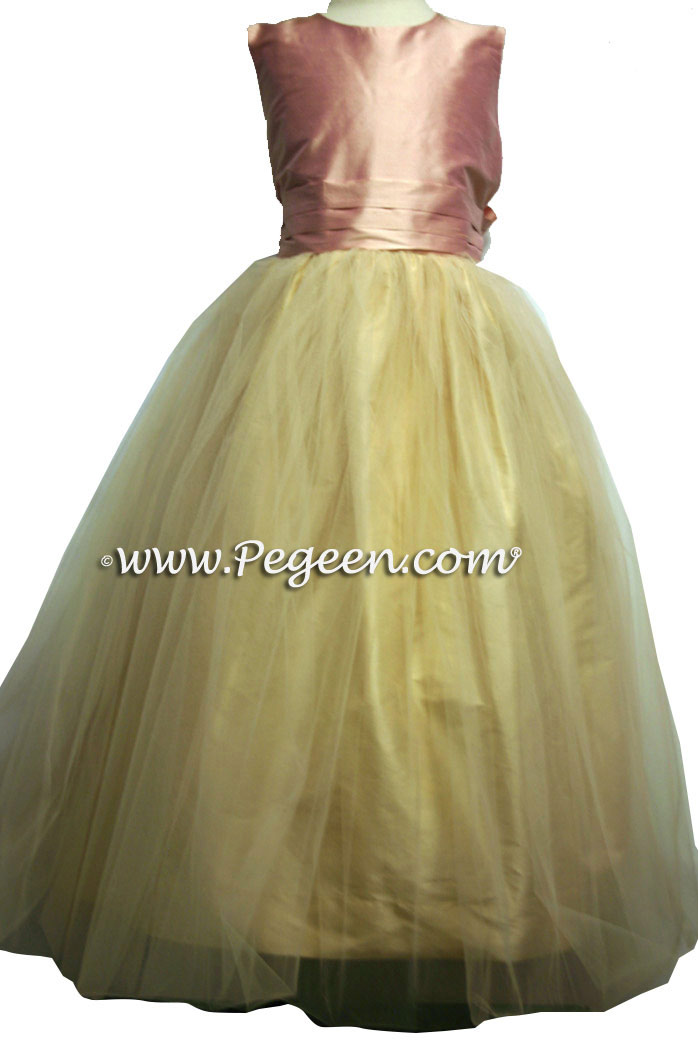 Buttercreme and Lotus Pink silk and tulle flower girl dresses in Pegeen Classic Style 356