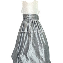 Silver Gray Silk and Antique White with Pearls flower girl dresses Style 370 by Pegeen