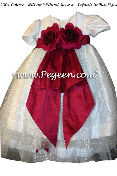Ivory and cranberry Custom Tulle Toddler flower girl dresses by PEGEEN with sparkle tulle