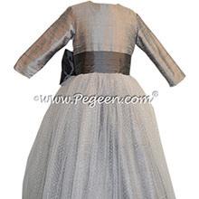 Silver Gray and Medium Gray silk Flower Girl Dress - Style 372