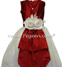Antique White and Christmas Red Silk and Sugar Organza Flower Girl Dresses