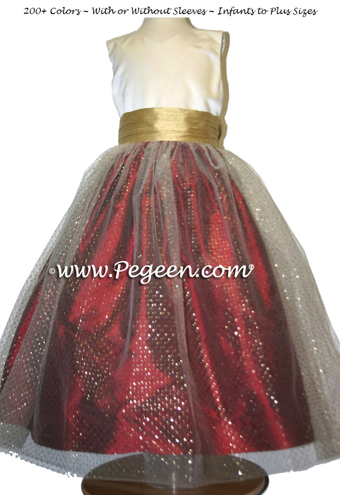 CLARET RED (copper) and SPUN GOLD Brown tulle junior bridesmaids dress