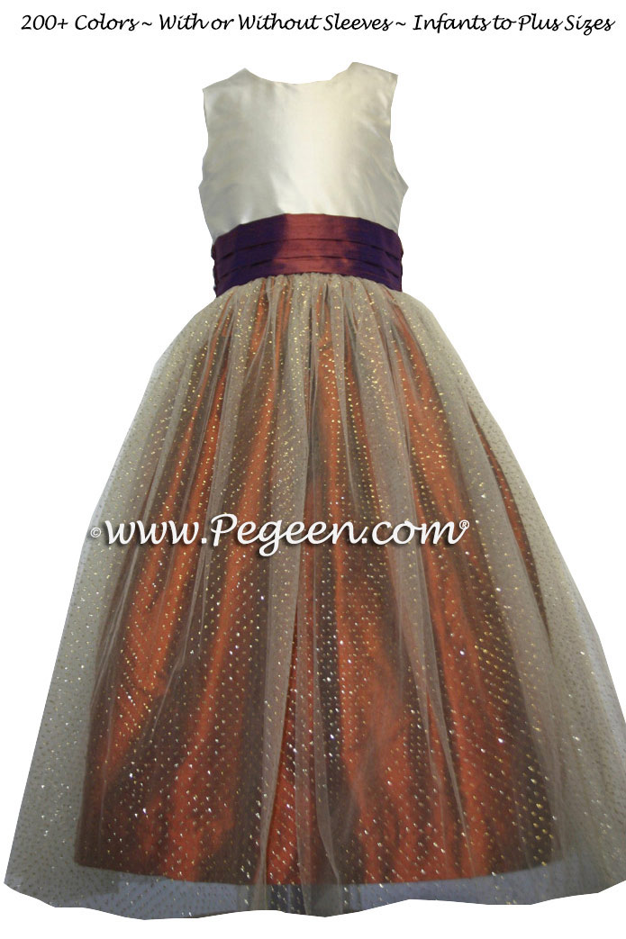 Mountain Fall (copper) and Oak Brown tulle junior bridesmaids dress