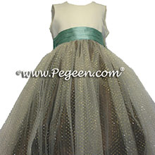 chcolate and waterfall teal tulle dress with gold sparkes