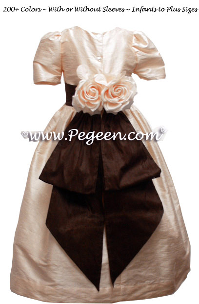 Pale Blush Pink and Chocolate Flower Girl Dresses in Silk Style 383
