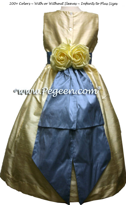 French blue and and buttercream silk flower girl dresses with yellow back flowers