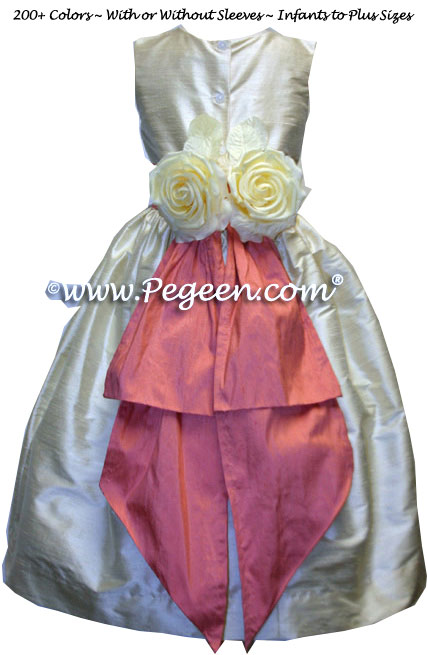 Sunset peach and and buttercream silk flower girl dresses with yellow back flowers