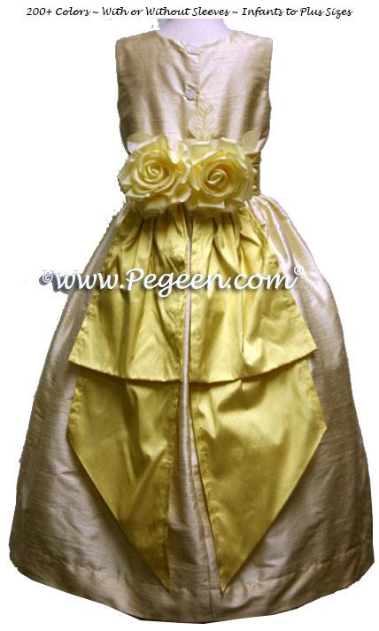 Sunflower yellow and buttercream custom silk flower girl dresses