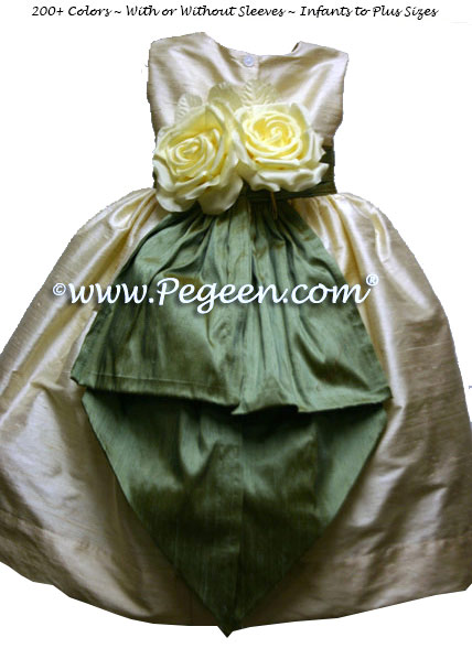 Sage green and and buttercream silk flower girl dresses with yellow back flowers