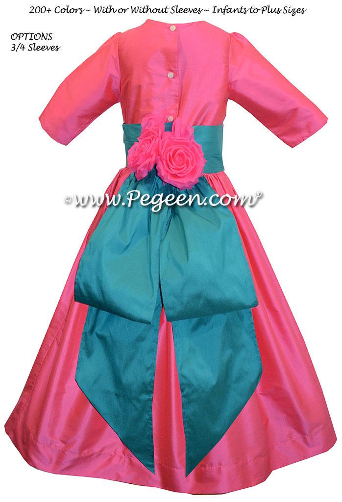 Flower girl dress Style 383 Oceanic and Hot Pink Silk | Pegeen