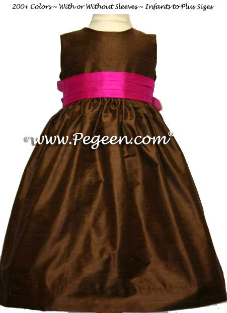 Raspberry pink and chocolate brown custom flower girl dresses
