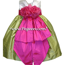 citrus green and shocking pink silk infant flower girl dresses