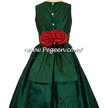 Forest Green Silk Flower Girl Dresses style 383 by Pegeen