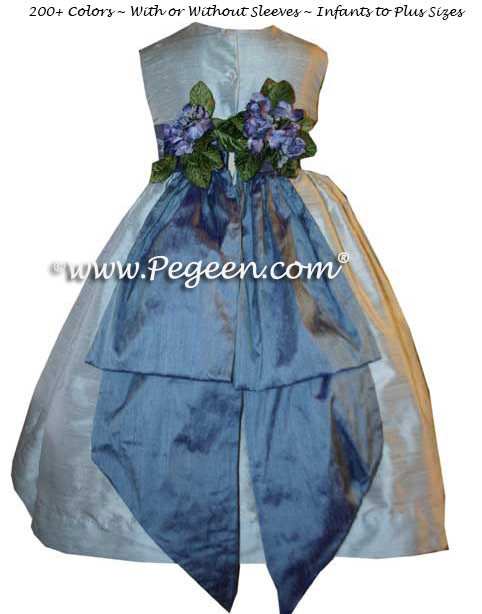 Steele Blue and Hydrangea Blue Flower Girl Dresses Style 383