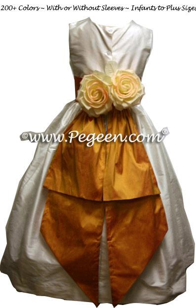 Ivory and Grapefruit Matching Jim Hjelm Papaya Flower Girl Dresses Style 383