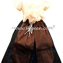 Pewter Gray and Chocolate brown Silk flower girl dresses Style 383 by Pegeen
