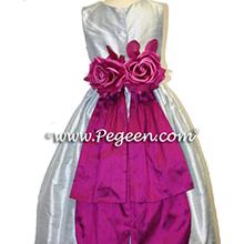 Platinum and flamingo flower girl dresses