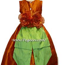 Pumpkin and apple green flower girl dresses