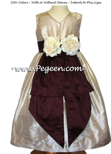Flower Girl Dresses with back Flowers in Toffee Creme and Burgundy Style 383