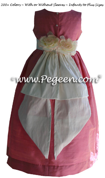 Watermelon Pink and New Ivory Flower Girl Dresses Style 383