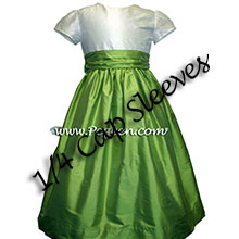 SPRITE GREEN AND IVORY SILK FLOWER GIRL DRESS WITH SMALL CAP SLEEVES